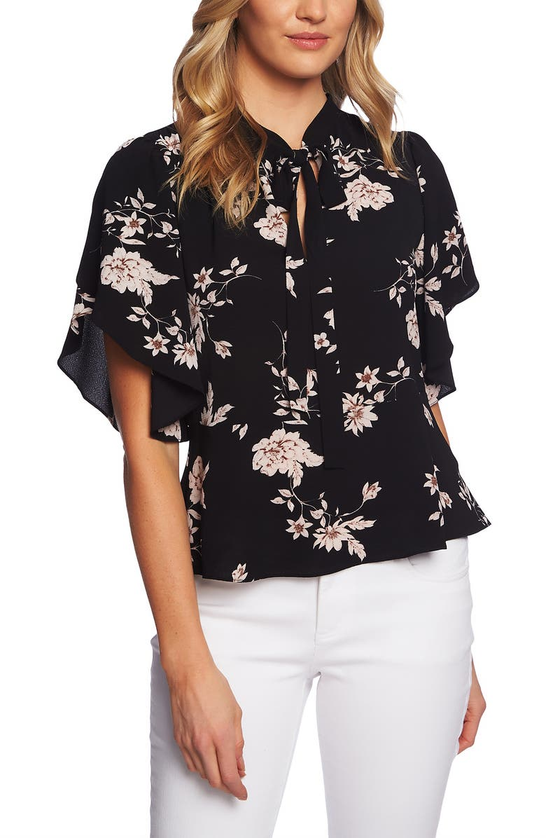 CECE Etched Floral Tie Neck Blouse, Main, color, 001