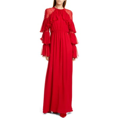 Giambattista Valli Lace Shoulder Ruffle Long Sleeve Georgette Gown, US / 42 IT - Red
