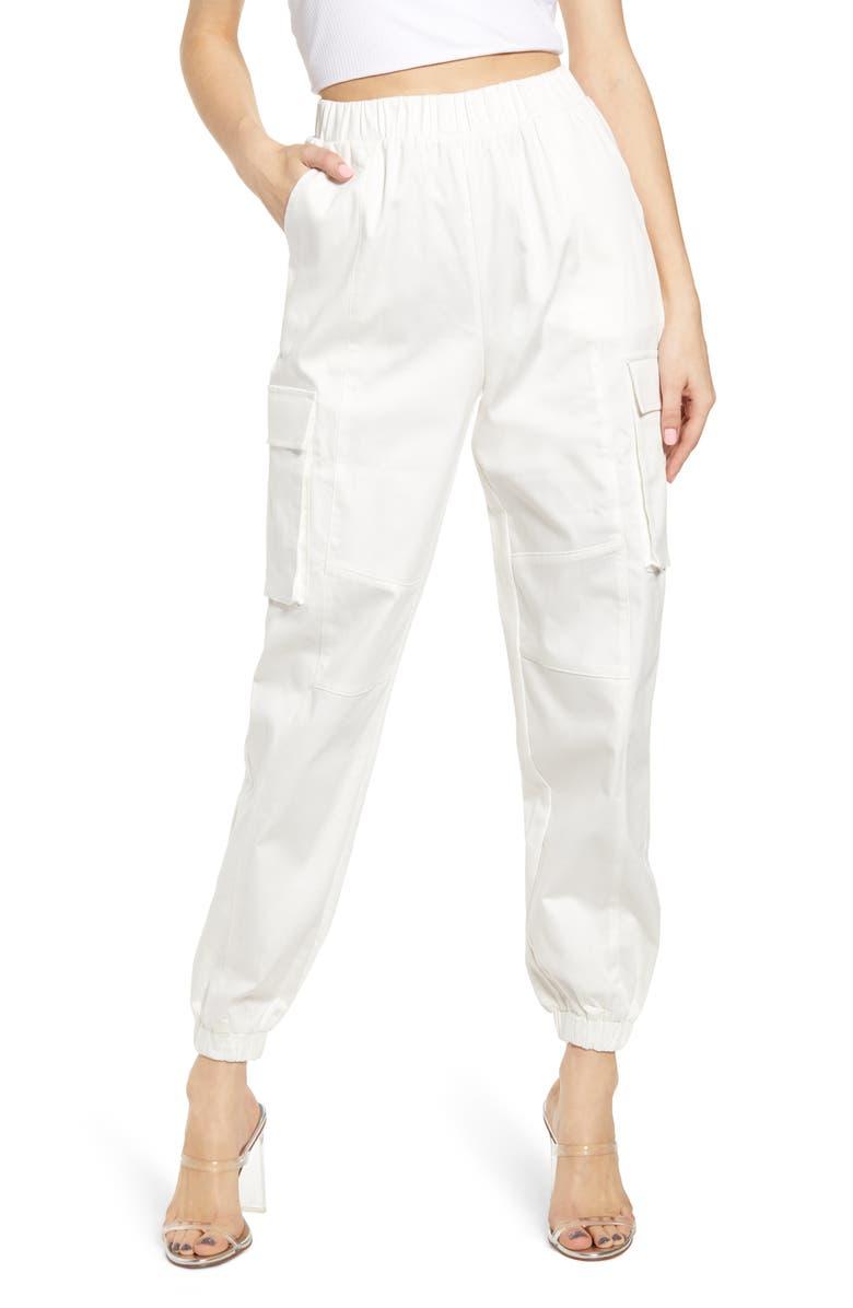 TIGER MIST Charis Cargo Jogger Pants, Main, color, WHITE