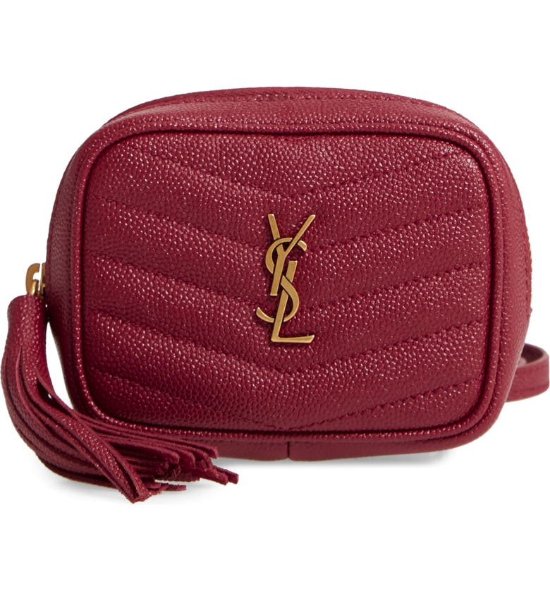 SAINT LAURENT Baby Lou Quilted Leather Micro Crossbody Bag, Main, color, ROUGE OPIUM