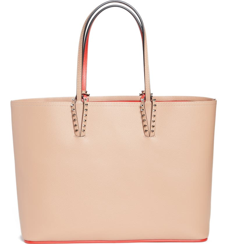 CHRISTIAN LOUBOUTIN Cabata Calfskin Leather Tote, Main, color, NUDE/NUDE