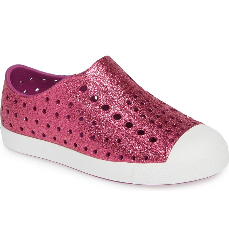 NATIVE SHOES Jefferson Bling Glitter Slip-On Vegan Sneaker, Main, color, ORIGAMI BLING/ SHELL WHITE