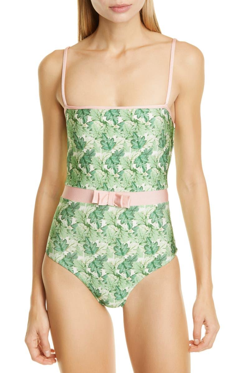 ADRIANA DEGREAS Bow Waist One-Piece Swimsuit, Main, color, GREEN DAHLIA