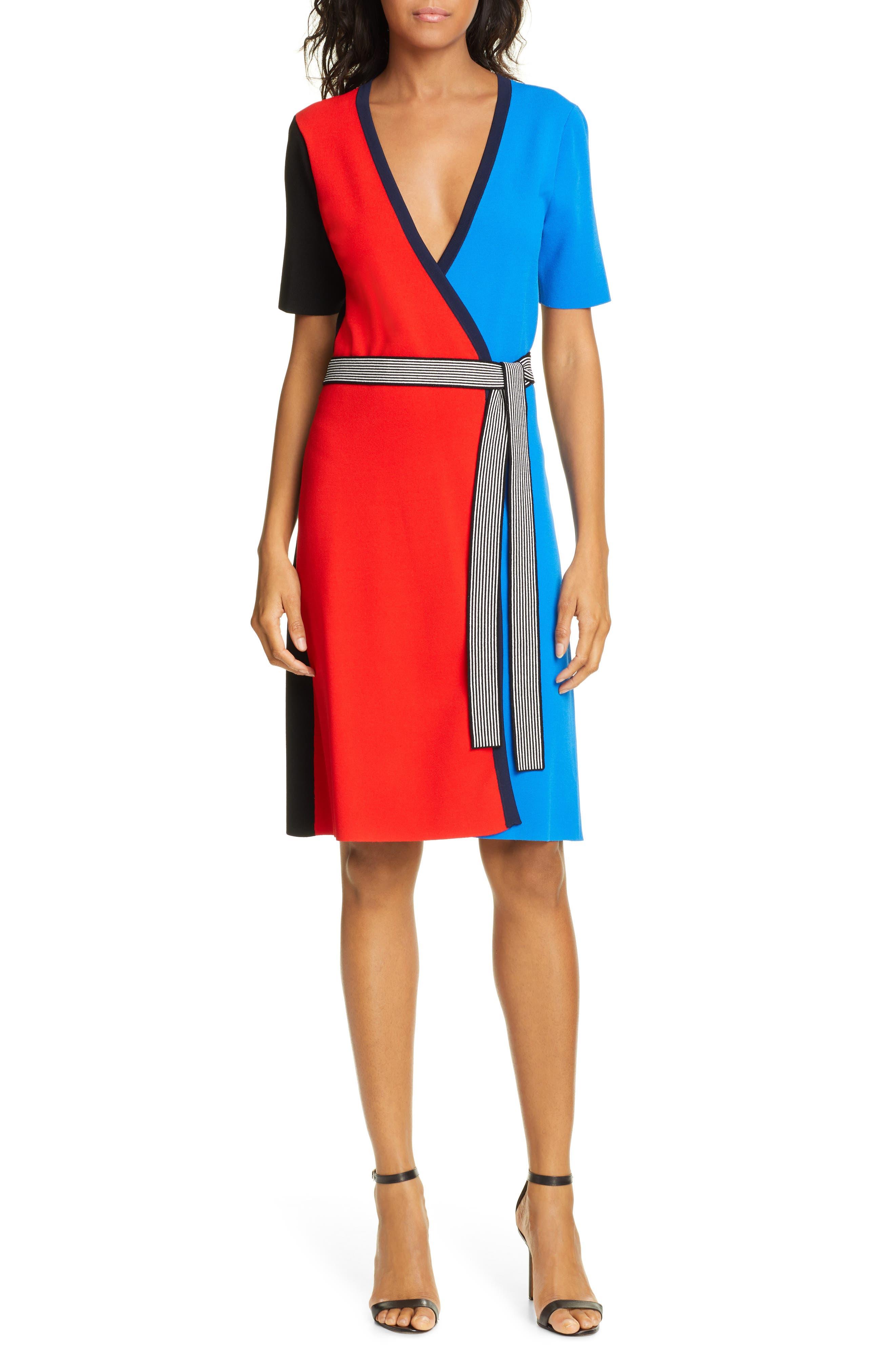 Dvf Halston Colorblock Wrap Dress, Red