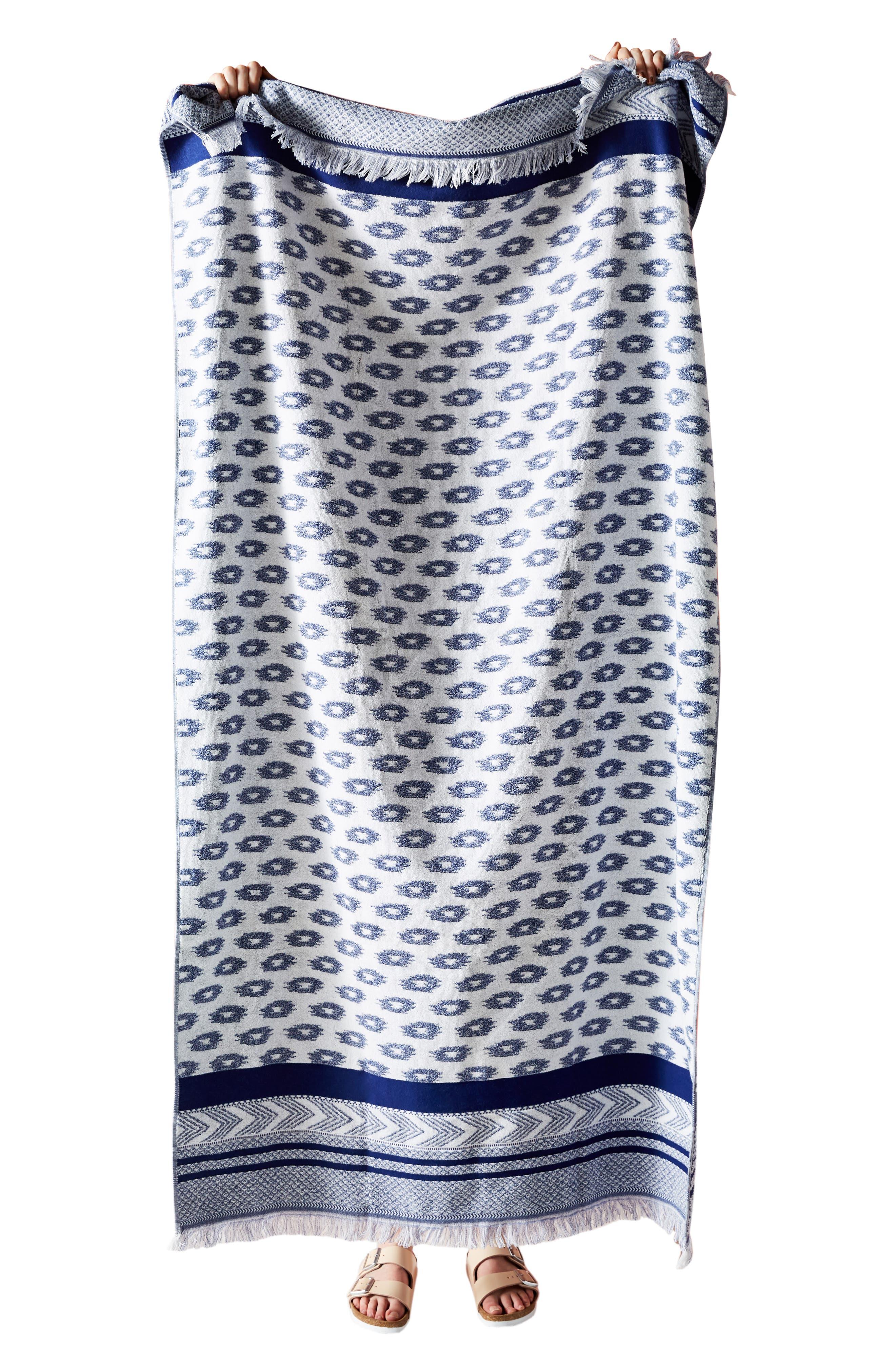 ,                             Talia Geo Fringe Beach Towel,                             Alternate thumbnail 3, color,                             INDIGO