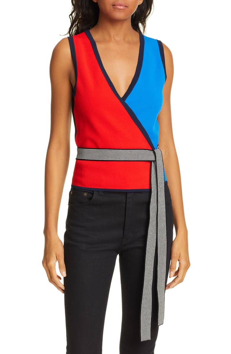 DVF Kandy Colorblock Wrap Top, Main, color, FLAMENCO MULTI
