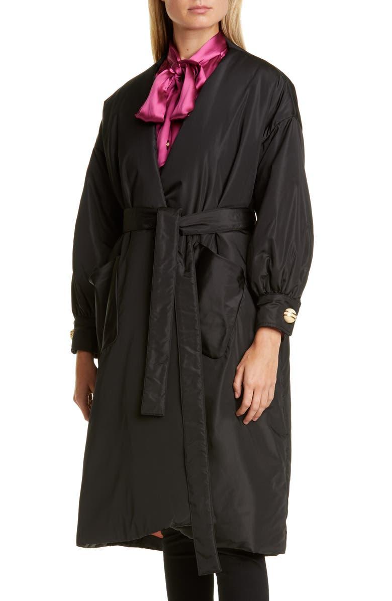 GUCCI Belted Silk Taffeta Coat, Main, color, BLACK/ MIX