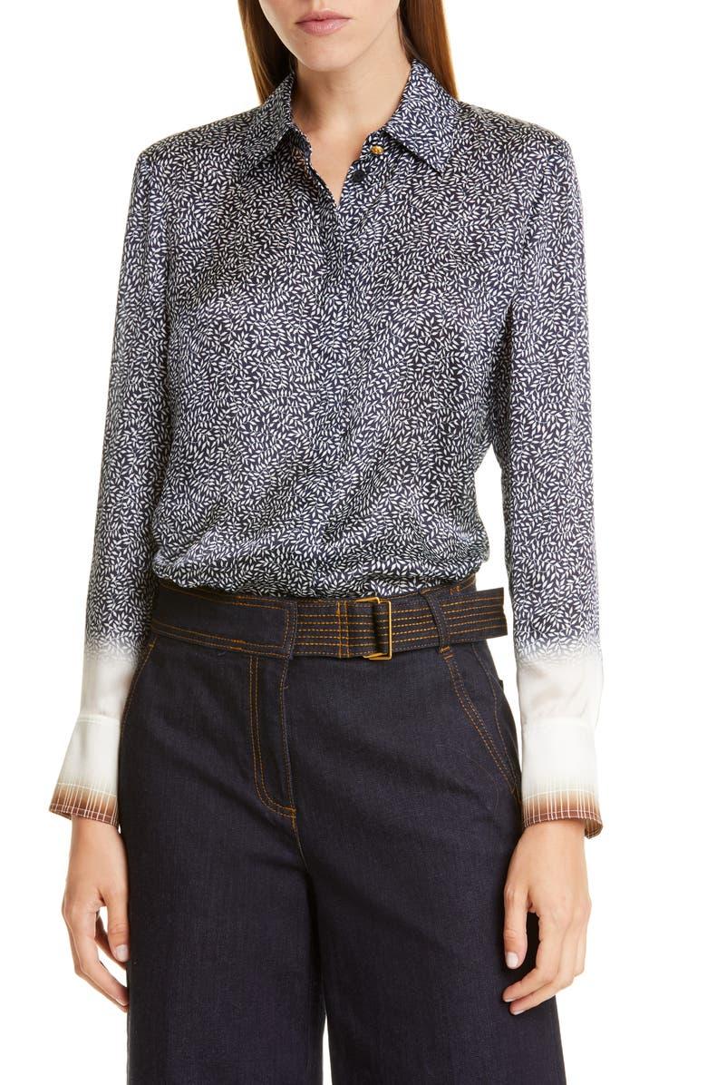 TORY BURCH Print Silk Satin Shirt, Main, color, DITSY PLAID DIP DYE