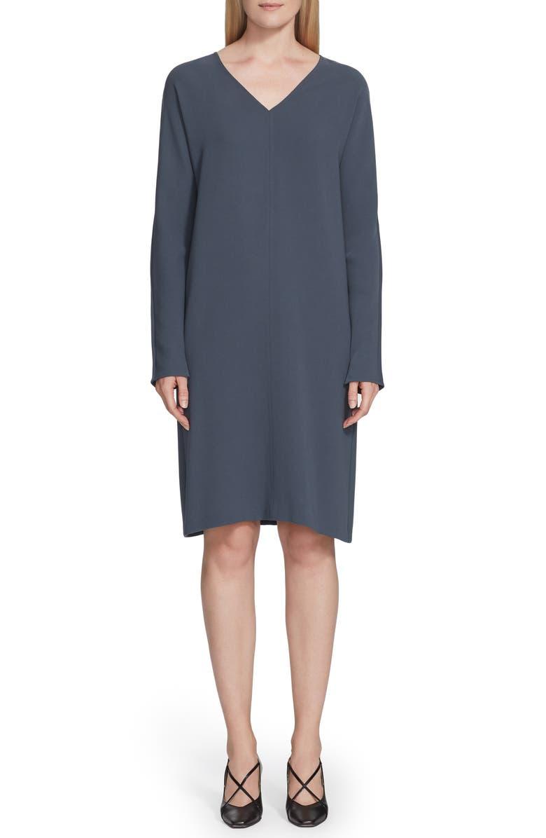 LAFAYETTE 148 NEW YORK Thurman Finesse Crepe Long Sleeve Shift Dress, Main, color, BLUE STORM