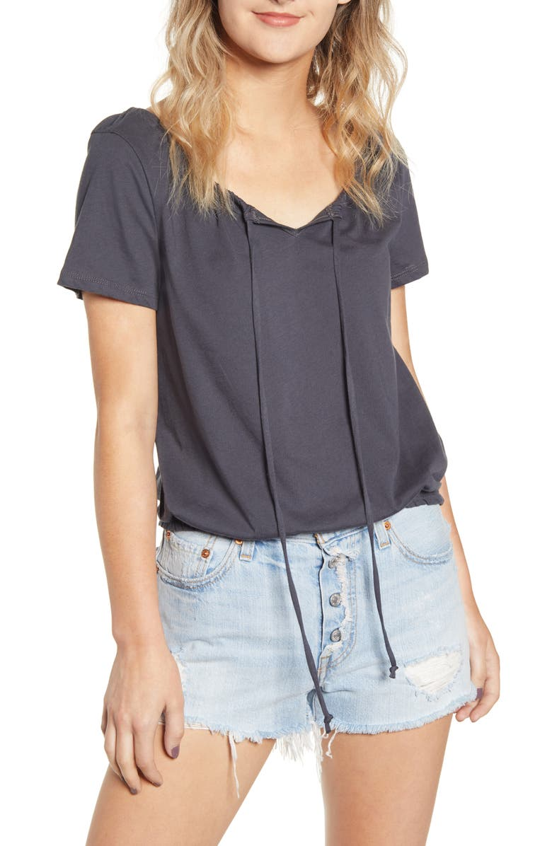PST BY PROJECT SOCIAL T Cinch Neck Top, Main, color, DISTRESSED BLACK