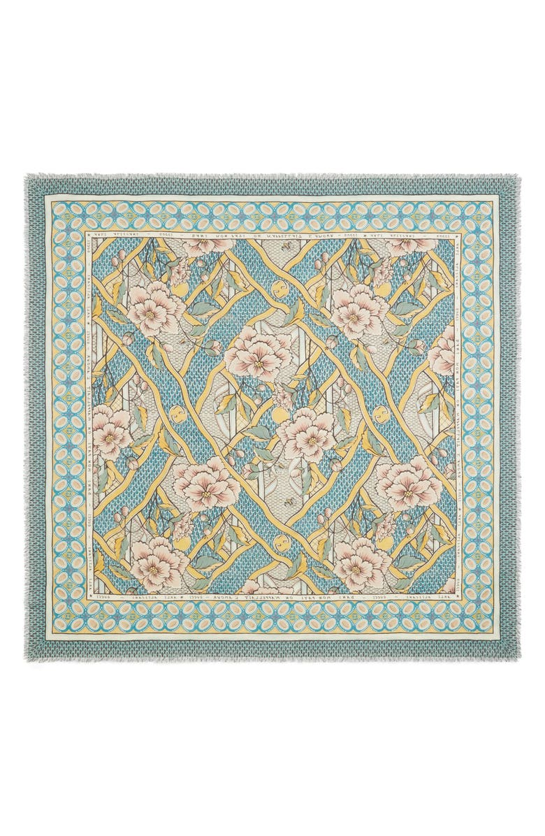 GUCCI Loraine Floral Wool & Silk Scarf, Main, color, 712