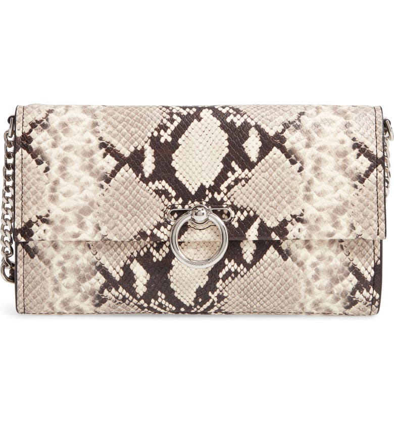 REBECCA MINKOFF Jean Snake Embossed Leather Clutch, Main, color, NATURAL