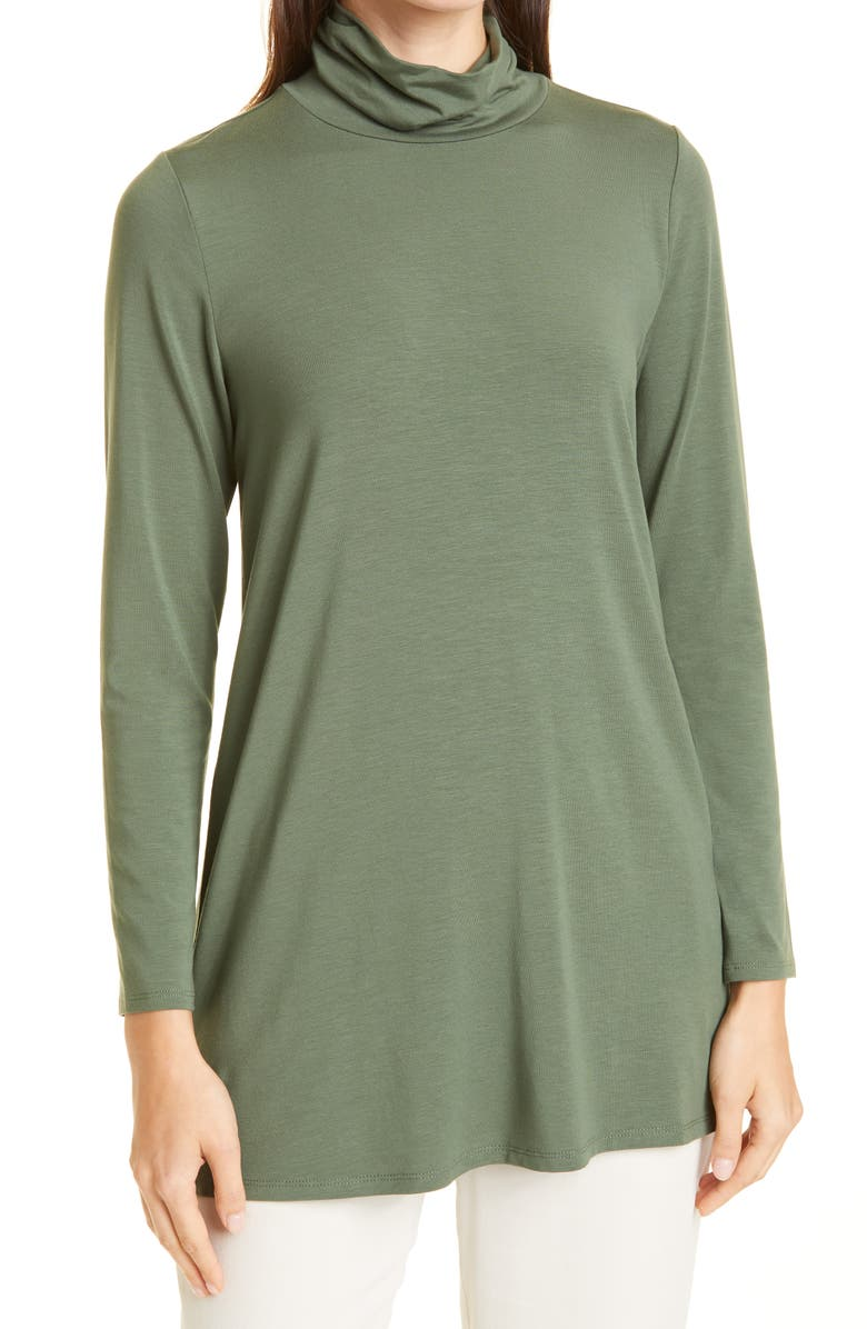 EILEEN FISHER Scrunch Neck Jersey Tunic, Main, color, CYPRS