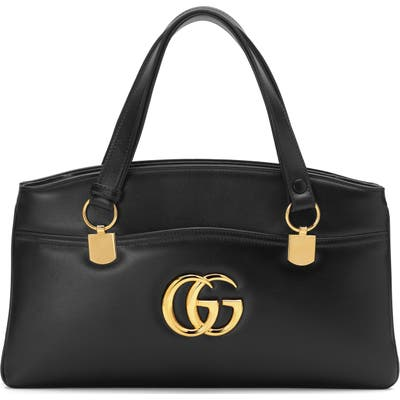 Gucci Largeleather Top Handle Bag - Black