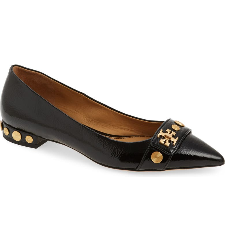 TORY BURCH Kira Studded Pointy Toe Flat, Main, color, PERFECT BLACK/ PERFECT BLACK