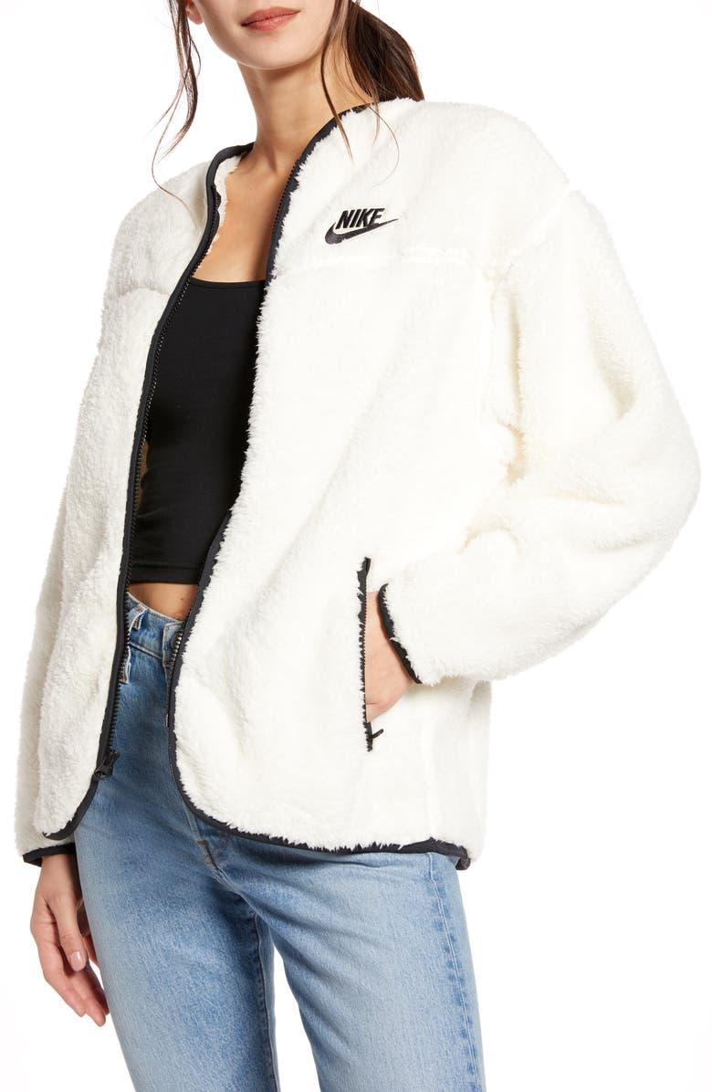 NIKE Sportswear Fleece Jacket, Main, color, PALE IVORY/ BLACK/ BLACK