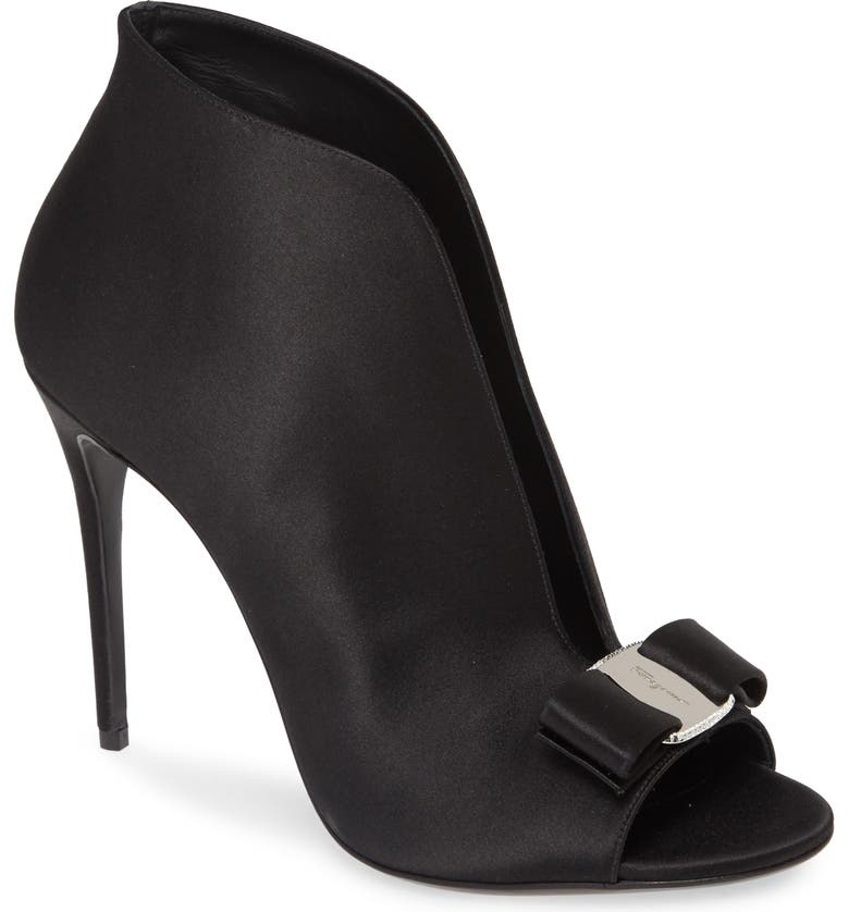 SALVATORE FERRAGAMO Lara Peep Toe Bootie, Main, color, 001