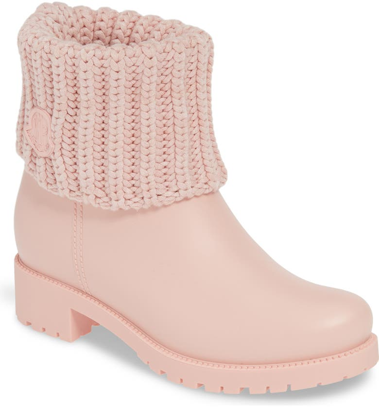 MONCLER Ginette Stivale Knit Cuff Water Resistant Rain Boot, Main, color, BLUSH