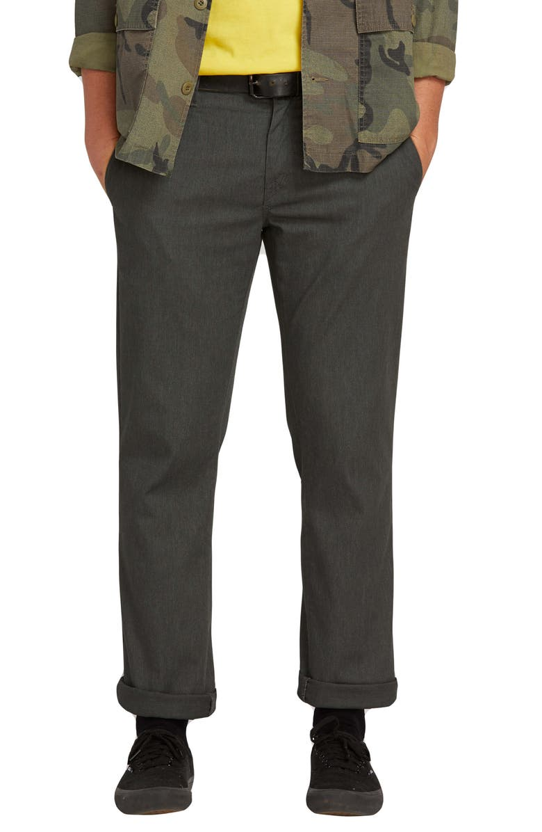 VOLCOM Frickin Slim Fit Modern Stretch Chino Pants, Main, color, CHARCOAL HEATHER