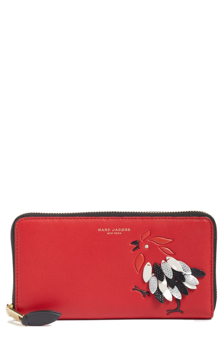 MARC JACOBS Rooster Continental Wallet, Main, color, SCARLET