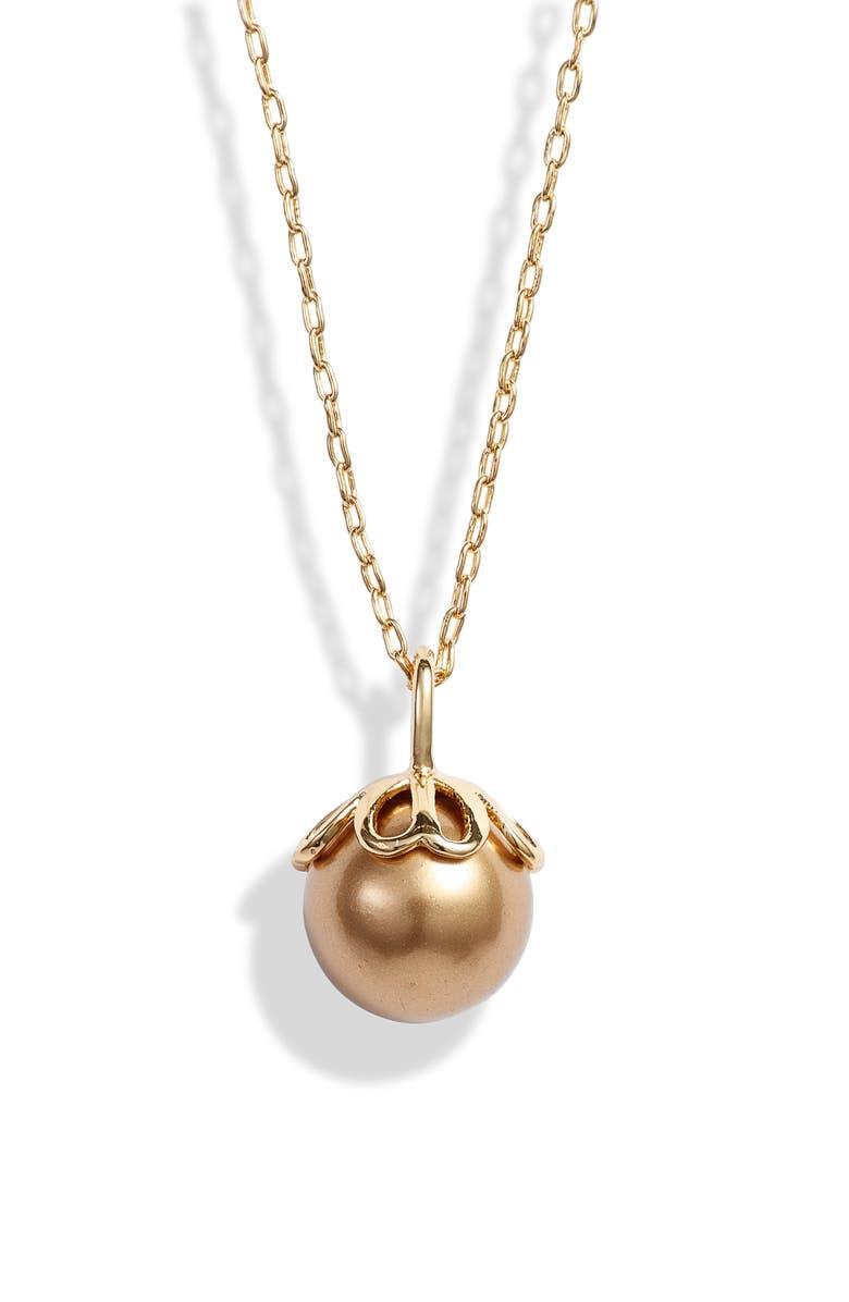 KATE SPADE NEW YORK pearlette mini pendant necklace, Main, color, GOLD MULTI