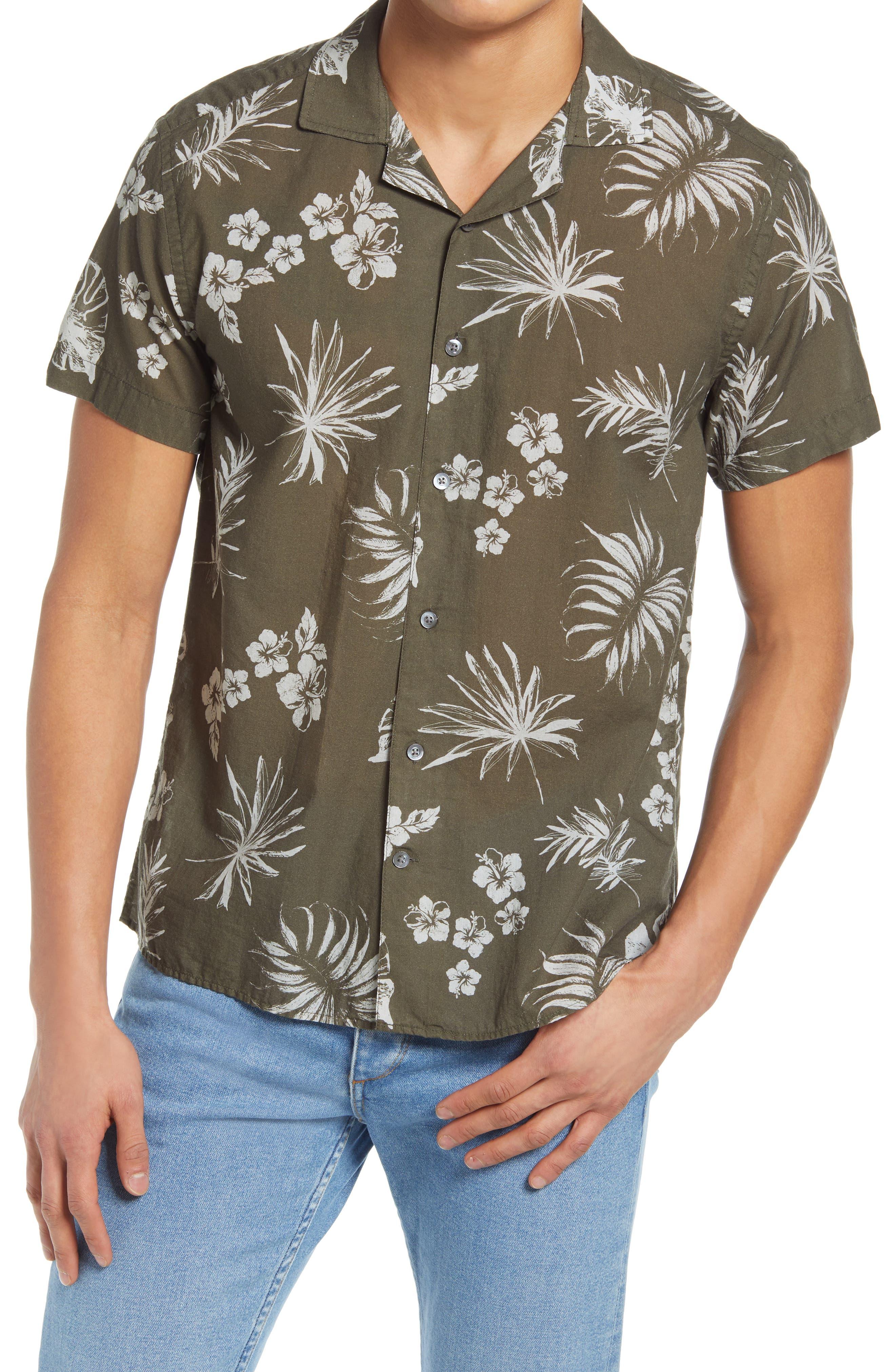 Print Button-Up Short Sleeve Camp Shirt