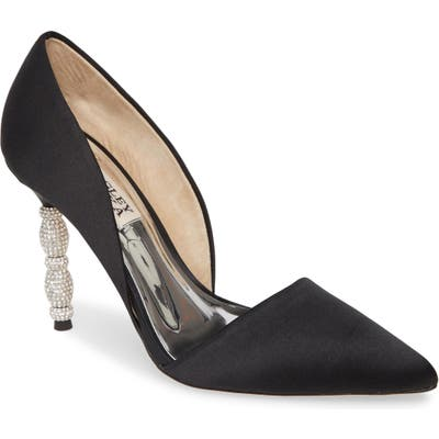 Badgley Mischka Emily Crystal Heel Pointed Toe Pump, Black