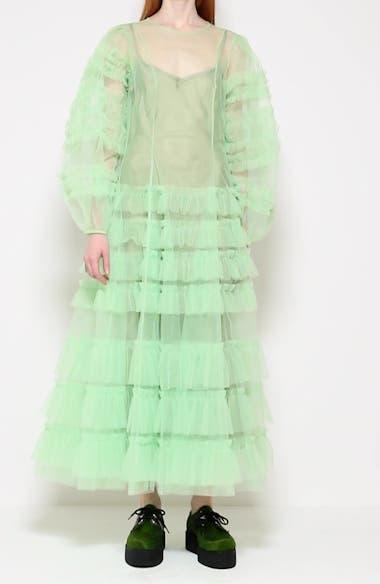 Kendi Frill Long Sleeve Ruffle Tulle Dress, video thumbnail