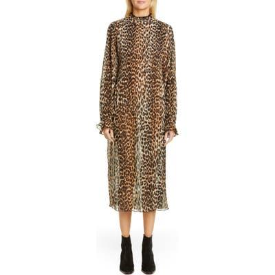 Ganni Leopard Print Sheer Georgette Long Sleeve Midi Dress, Brown