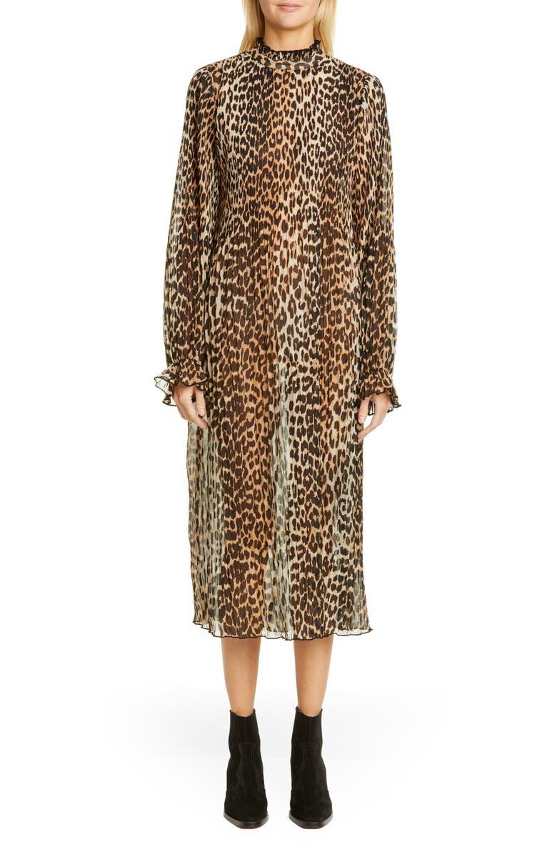 GANNI Leopard Print Sheer Georgette Long Sleeve Midi Dress, Main, color, LEOPARD