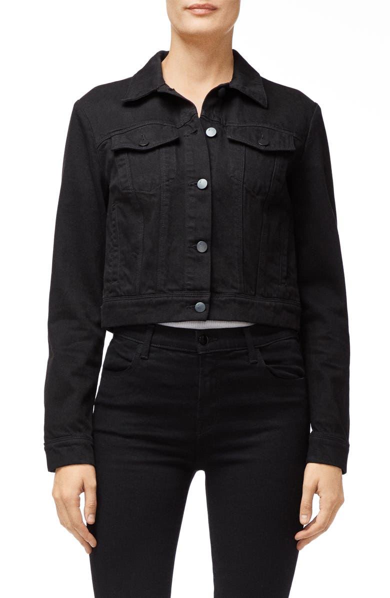 J BRAND Harlow Shrunken Denim Jacket, Main, color, BLACK
