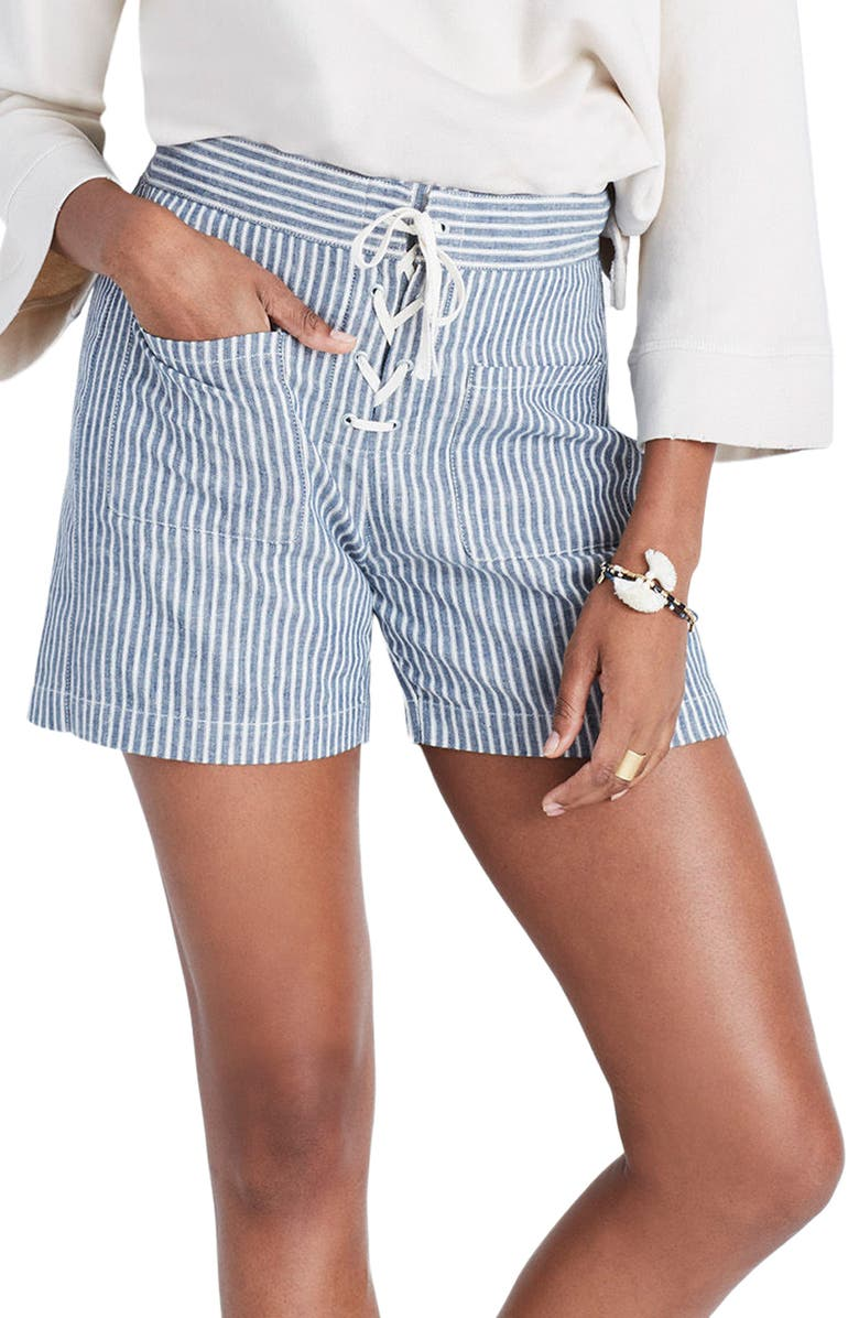MADEWELL Lace-Up Linen Blend Shorts, Main, color, 400
