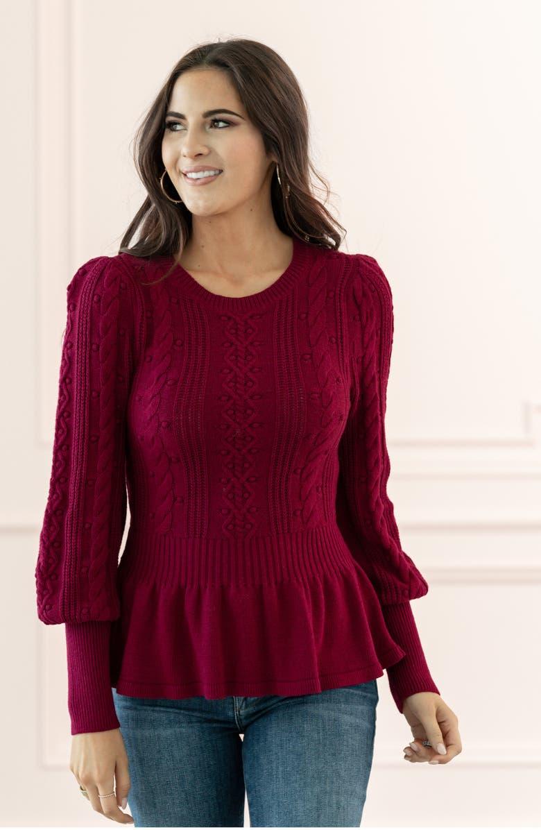 Cable Bobble Peplum Cotton Blend Sweater by Rachel Parcell
