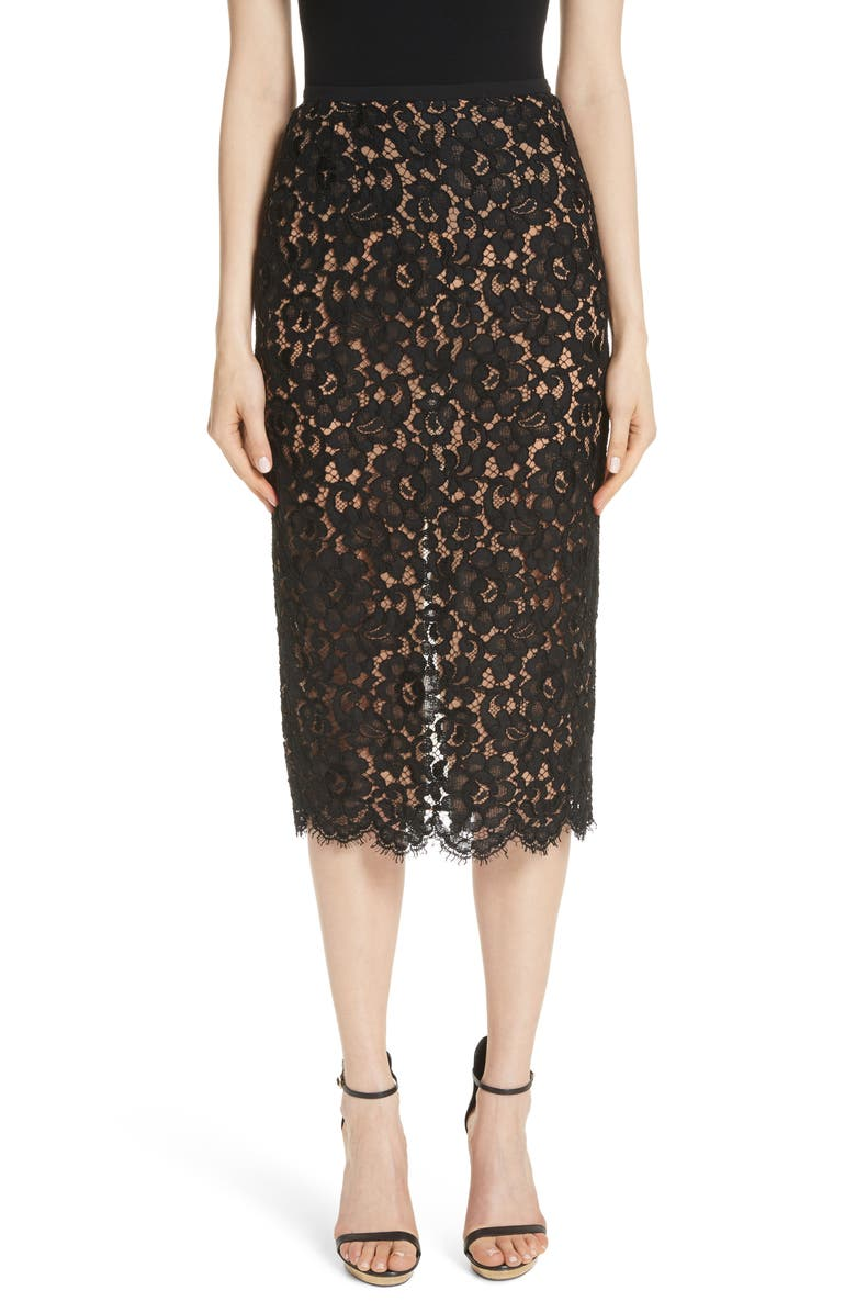 MICHAEL KORS Lace Pencil Skirt, Main, color, BLACK