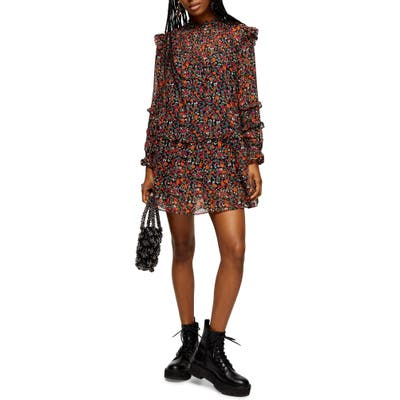 Topshop Long Sleeve Ditsy Floral Minidress, US (fits like 0) - Black