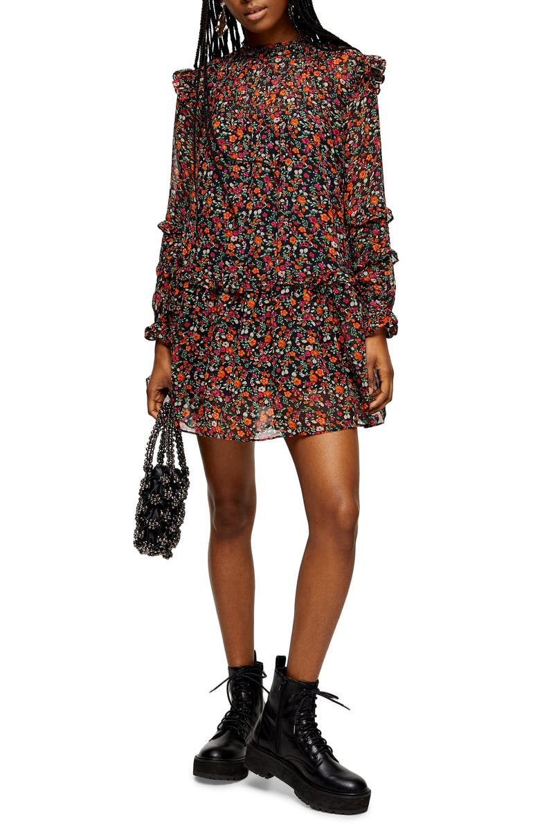 TOPSHOP Long Sleeve Ditsy Floral Minidress, Main, color, BLACK MULTI