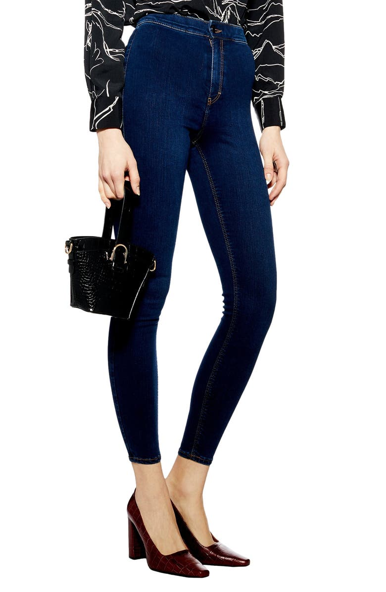 TOPSHOP Joni High Waist Moto Jeans, Main, color, INDIGO