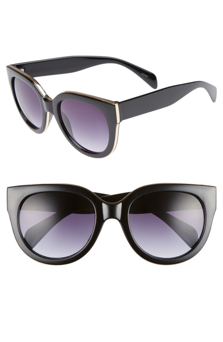 LEITH 54mm Round Sunglasses, Main, color, 001