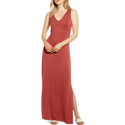 Bobeau Ansel Tie Back Jersey Maxi Dress, Pink