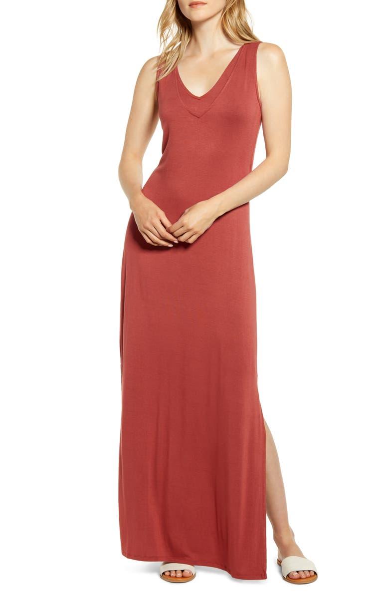 BOBEAU Ansel Tie Back Jersey Maxi Dress, Main, color, FADED ROSE