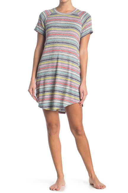 Image of Kensie Striped Short Sleeve Nightshirt