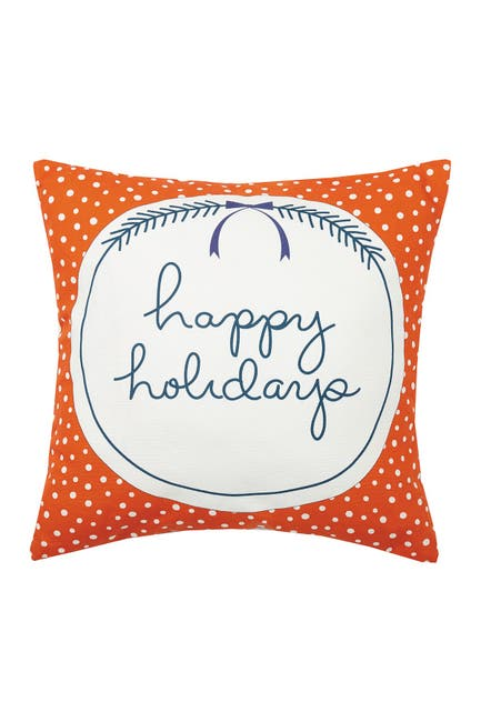 Image of Peking Handicraft Multi Happy Holidays Printed Pillow