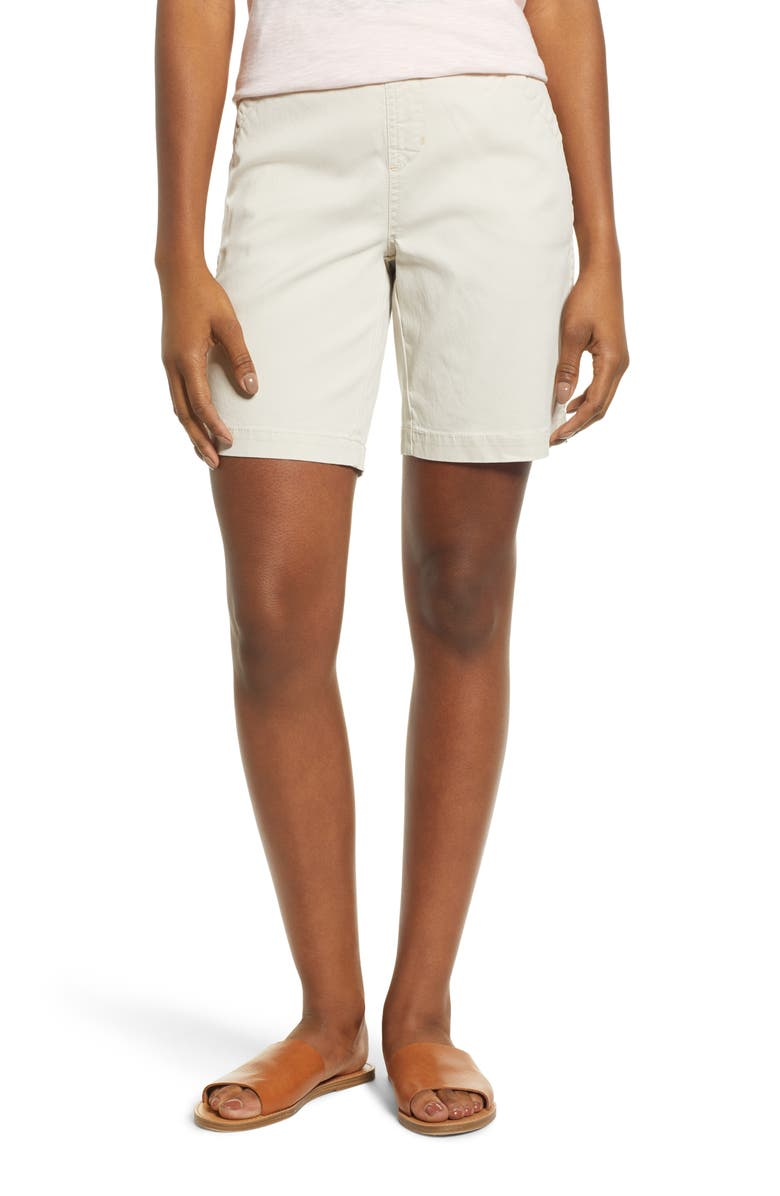 JAG JEANS Gracie Stretch Cotton Shorts, Main, color, STONE