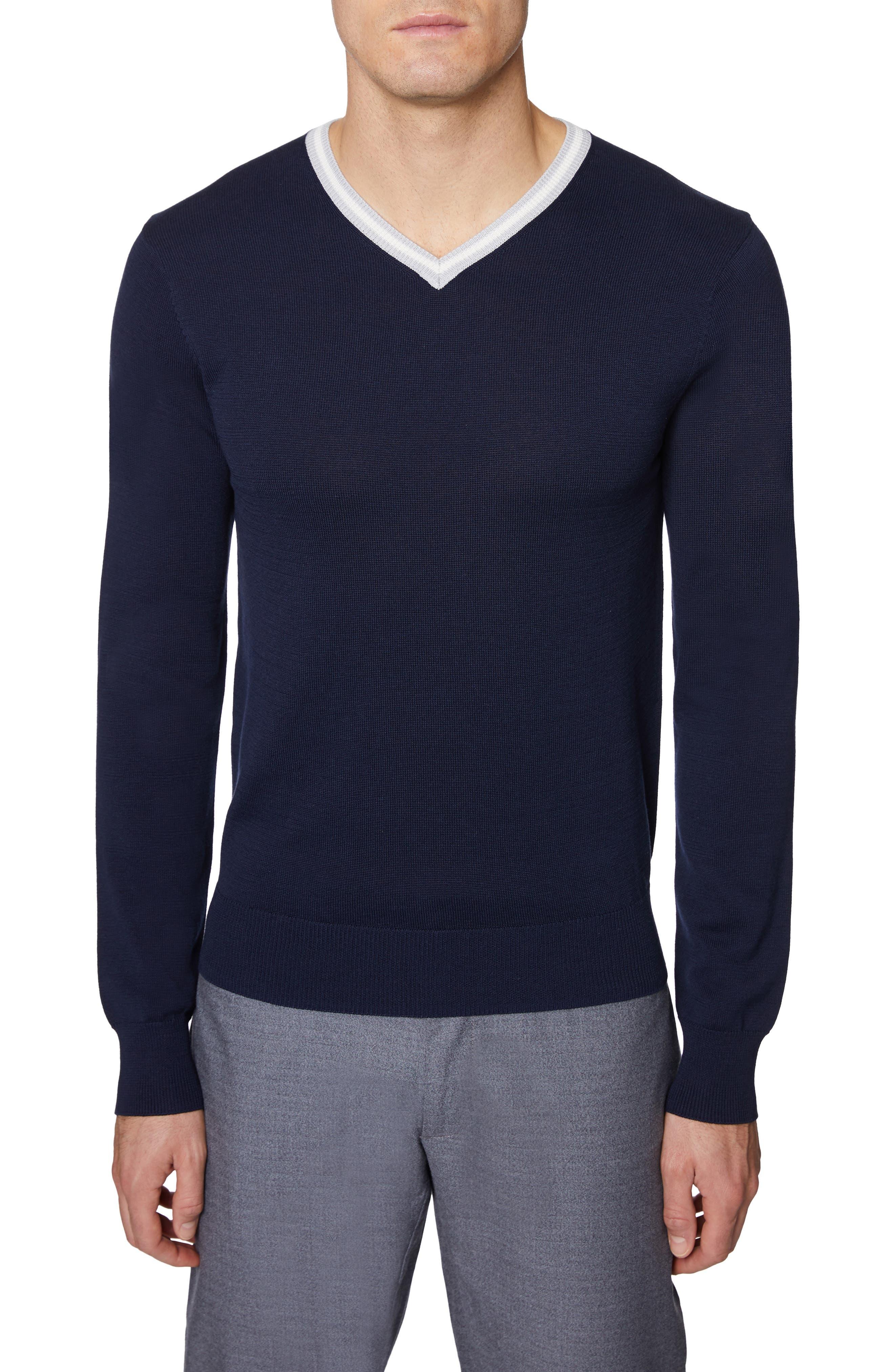 Hickey Freeman V-Neck Silk & Cotton Sweater, Blue
