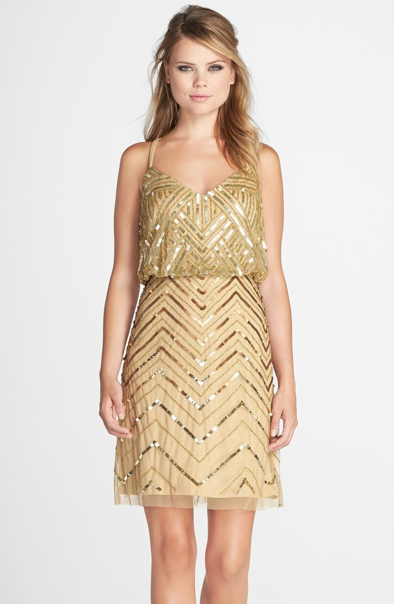 ADRIANNA PAPELL Embellished Mesh Blouson Dress, Main, color, 710