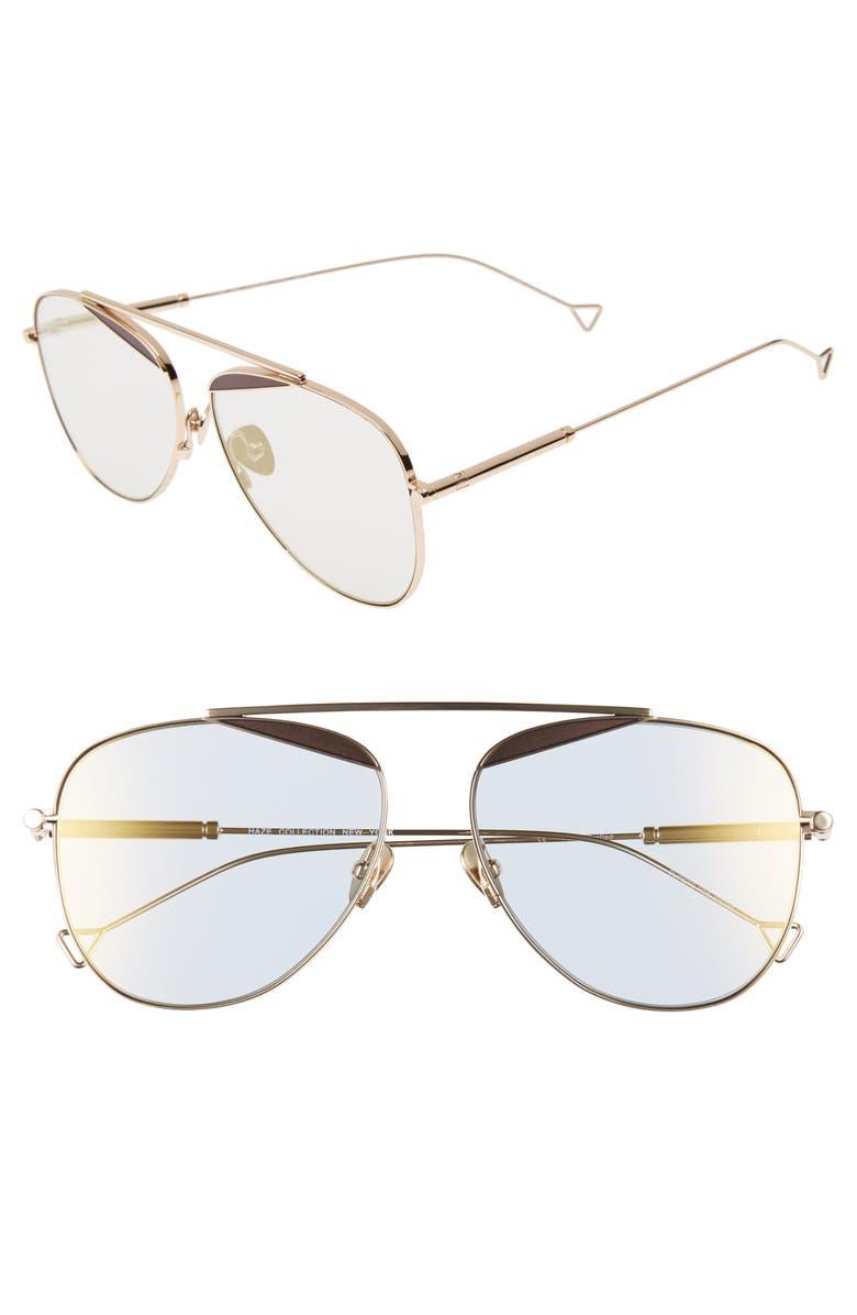 HAZE The Durete 58mm Aviator Sunglasses, Main, color, GOLDEN