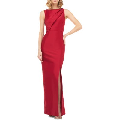 Kay Unger Serena Mikado Evening Gown, Red