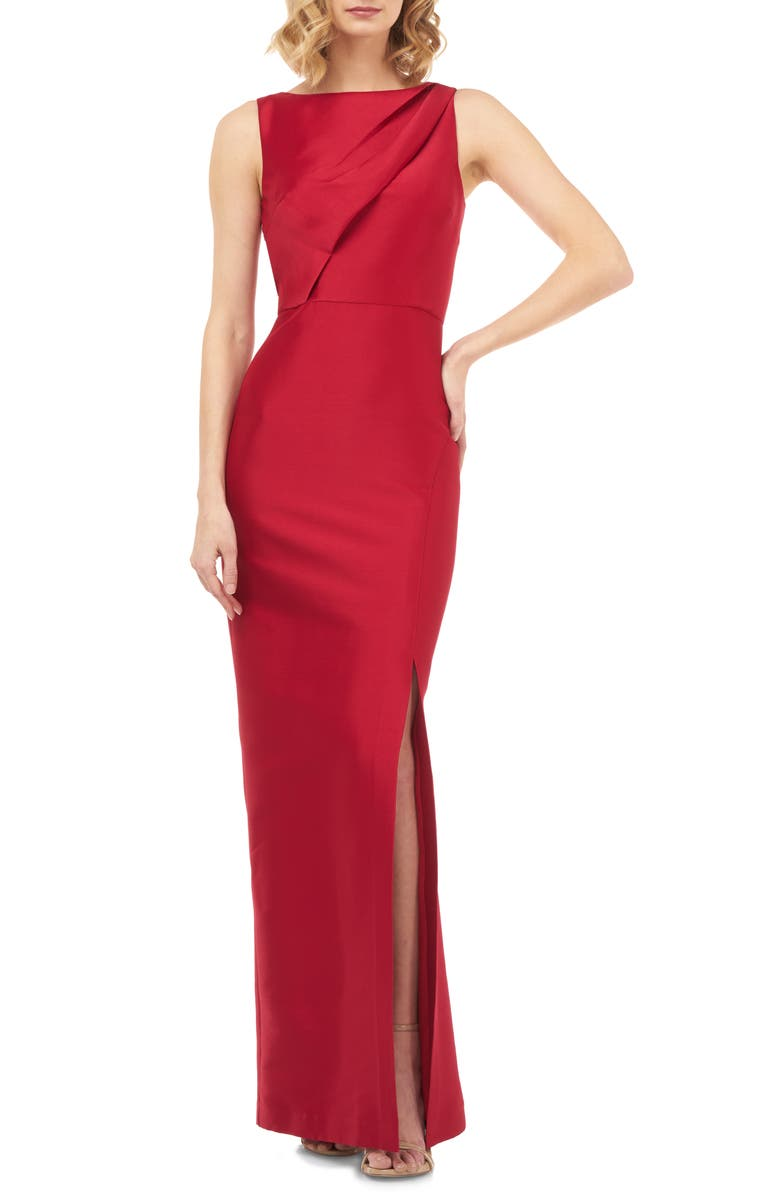 KAY UNGER Serena Mikado Evening Gown, Main, color, RUBY