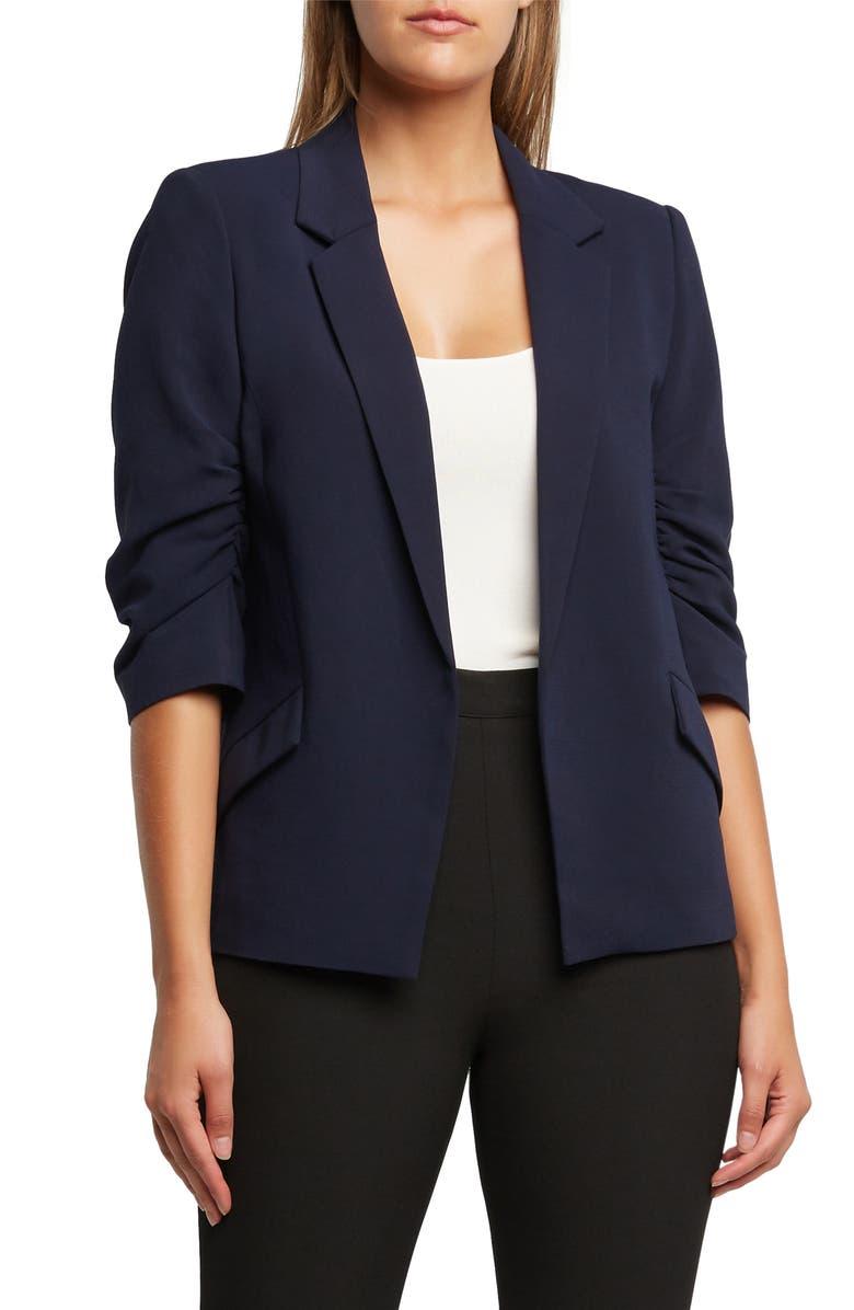 BARDOT Ruched Sleeve Blazer, Main, color, 400