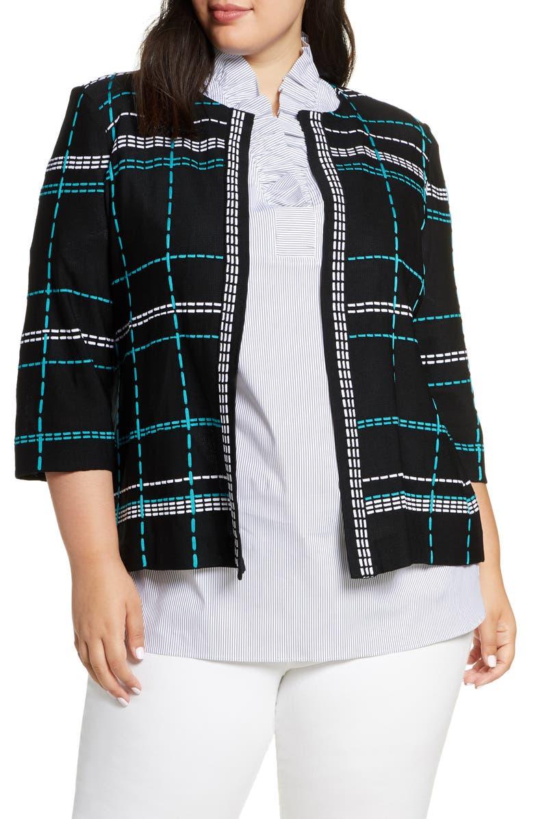 MING WANG Pickstitch Jacket, Main, color, 012